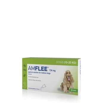 Amflee Spot On 134 mg Cães 10-20 kg 3 Pipetas