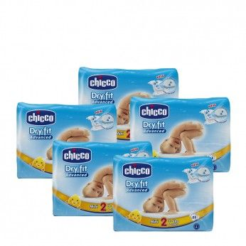 Chicco Dry Fit Advanced T2 3-6 kg 25 Fraldas 5 PACKS