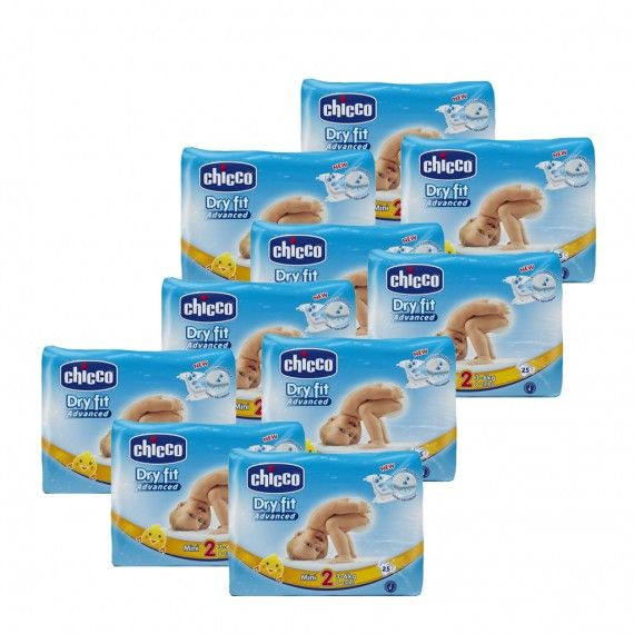 Chicco Dry Fit Advanced T2 3-6 kg 25 Fraldas 10 PACKS