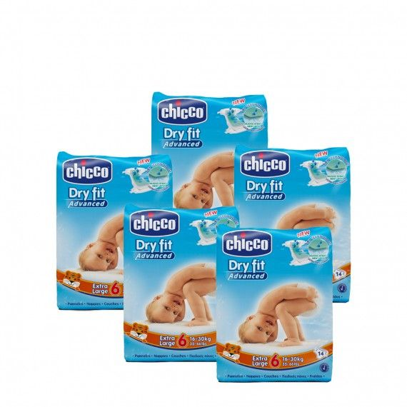 Chicco Dry Fit Advanced T6 16-30 kg 14 Fraldas 5 PACKS